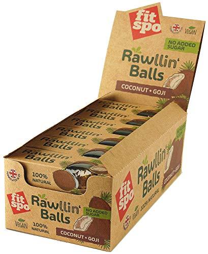 Energie Riegel vegan als Rawllin'Balls mit Protein, 12 X 48 g -> 3 Kugeln à 16 g, raw energy bar (Coconut + Goji) -