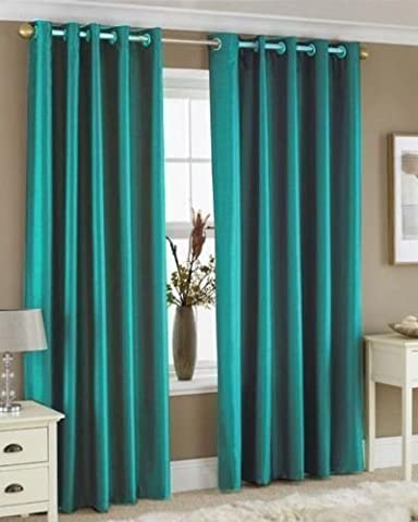 Faux Silk Eyelet Curtains For Living Room Bedroom 66x54 inches Drop Plain Pair Of Ready Made Curtains Fully Lined Ring Top With Matching Tie Back ,