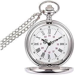 BestFire lisse Vintage montre de poche montre de poche à quartz classique FOB montre avec chaîne courte pour hommes femmes - boîte-cadeau (Blanc)