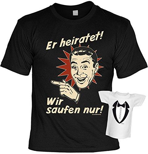 Junggesellenabschied witziges T-Shirt für Junggesellenfeier Ehe JGA Shirts JGA Outfit JGA Polterabend Hochzeit Er heiratet! Wir saufen nur! Gr: L