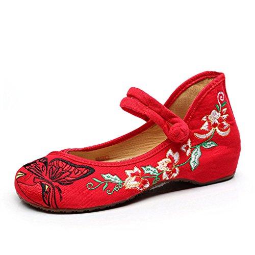 Frühlings-Frauen Ethno-Stil Low-Heels Bestickte Schuhe Casual Soft Bottom Tuch Schuhe Chinesische Rote Hochzeitsschuhe (Farbe : Rot, Größe : 38) (Größe 10-plattform Turnschuhe)