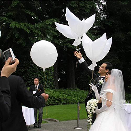 ntauben, Folienballons in Taubenform für Hochzeiten und Dekoration, Helium Ballon Taube in Weiss, 104×54cm Folienballons Luftballons Ballons Modellierballons ()