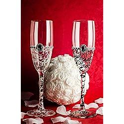 Copas de champán para el novio y la novia, pintadas a mano, Tamaño 5x21