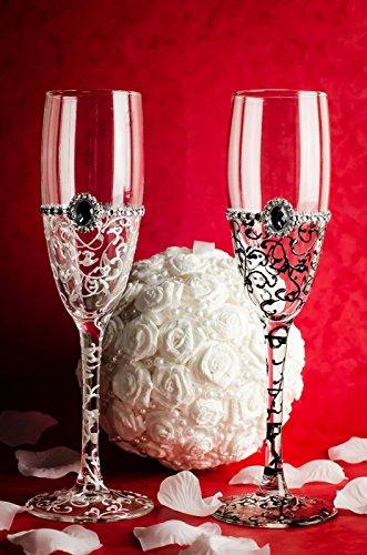 Pintado a mano boda novia y novio copas de champán gafas, vidrio, Tra
