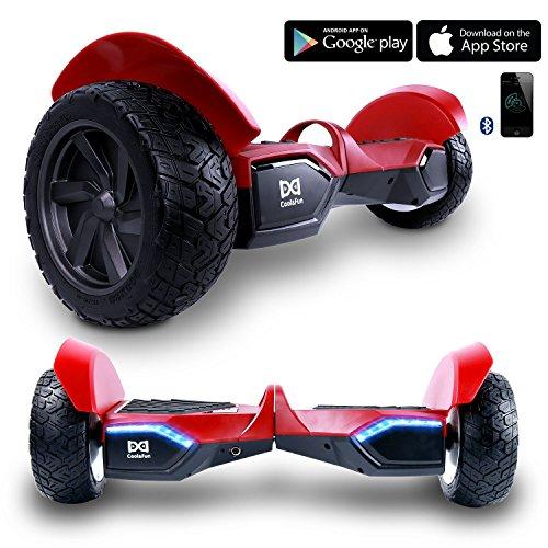 Cool&Fun Hoverboard Monopattino Elettrico, Portabile, Balance Scooter Skateboard, con Bluetooth APP e LED, Motore 700W(2*350W) (Rosso)
