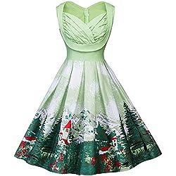 BBestseller-Vestidos Corto Mujer Retro Años 50 Vintage Escote Elegante Mini Dress Falda De Fiesta Mujer Navidad Ropa Mujer