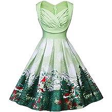 BBestseller-Vestidos Corto Mujer Retro Años 50 Vintage Escote Elegante Mini Dress Falda De Fiesta
