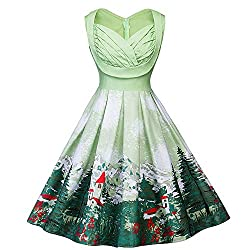 VEMOW 2018 Cocktailkleid Elegant Damen Frauen Abendkleid Weihnachten Drucken Pin Up Swing Lässige Tanzen Spitze Party Panel Kleid(Y2-Grün, 44 DE / 3XL CN)