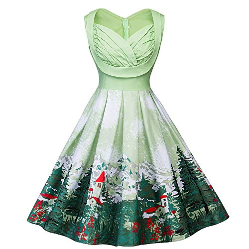Weihnachten Cocktailkleid Damen,Elecenty Frauen Ärmellos Rundhals Partykleid Vintage Christmas Weihnachtskleid Rockabilly Swing-Kleid