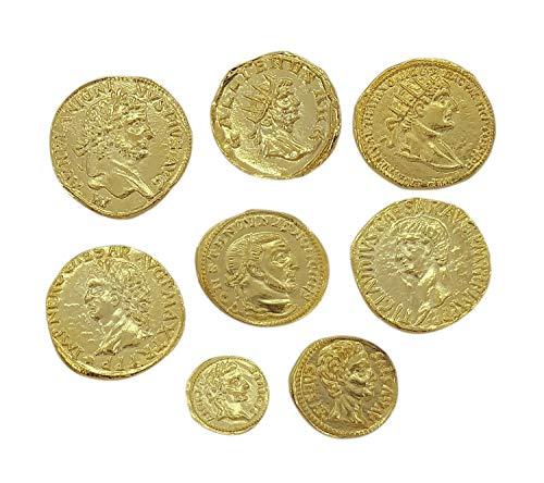 3 - Eurofusioni Monedas Antiguas Romanas chapada de Oro - Set 8 Piezas