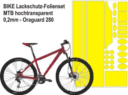 Fahrrad Steinschlagschutzfolie klar 0,2mm Folienset großer Bogen - Oraguard 280 - Lackschutzfolie - Lackschutz - Schutzfolie für MTB, Rennrad, E-Bike
