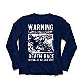 T-Shirt Manches Longues Homme Course de la Mort - Ultime Course de Tueur, Course de Moto, Motard Crâne, Classique - Vintage - Rétro Moto (Small Bleu Multicolore)