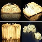 Gearmax® Holz Dekorative LED Nachtlicht Booklight LED Folding Buch Design Wandlampe Kunstlicht mit 2500mAh Lithium 500Lumens Stehlampe (Warmweiß)