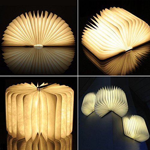 Gearmax Escritorio Lámpara Luz en Forma de Libro Recargable Plegable de Maderade la Noche Lámpara de Mesa de 500 Lúmenes de Ahorro de Energía(Amarillo)