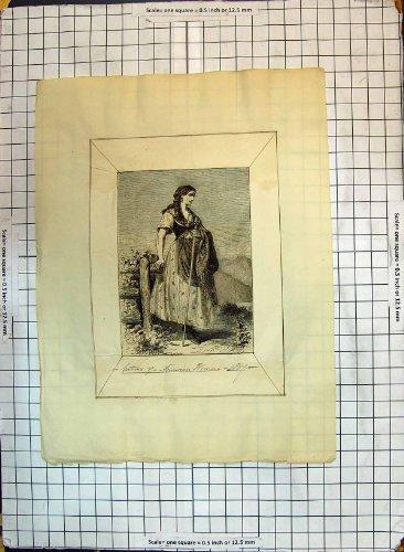 Antikes Mode-Kleid Druck-Porträt-Kostüm Moravian (Kleid 1867 Kostüm)