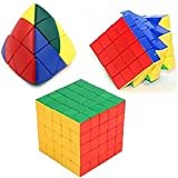 Mayatra's Ultra Smooth Twisting 5x5 Stickerless Rubik Cube,4 By 4 Stickerless Magic Speed Cube & Shengshou Master Pyramorphix Puzzle Cube Magic Cube