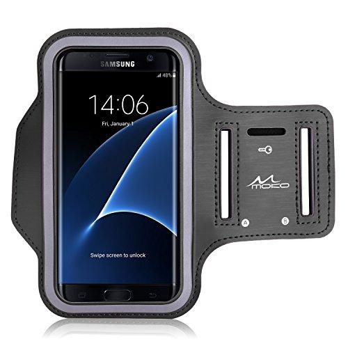 MoKo Armband für Samsung Galaxy S7 Edge - Sweatproof Joggen Laufen Sport Armband Handy Hülle Schutzhülle Case + Schlüsselhalter Kopfhörer Anschluss für Smartphone bis zu 5.5 Zoll, Schwarz (Größe L) (Wasserdichte Samsung Galaxy S4 Fall)