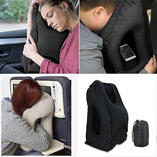 Almohada-de-viaje-SGIN-Multi-funcional-Porttil-inflable-almohadilla-de-siesta-cmodo-para-aviones-coches-Napping-de-oficina-trenes-Negro