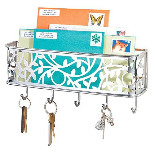 mDesign Letter Holder Chrome Mail Sorter for The Entrance Metal Wall Mounted Letter Rack