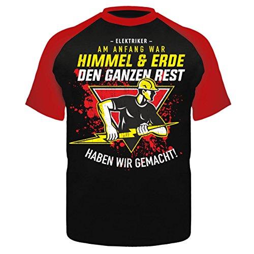 Männer und Herren T-Shirt Elektriker - Am Anfang war Himmel & Erde Schwarz/Rot