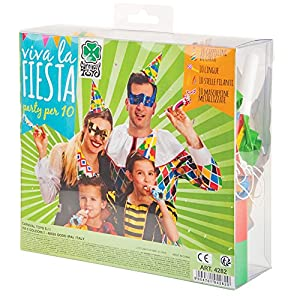 Carnival Toys - Cotillón Carnaval: 10 antifaces, 10 gorros, 10 serpentinas pequeñas, 10 trompetas, en caja de pvc, multicolor (4282)