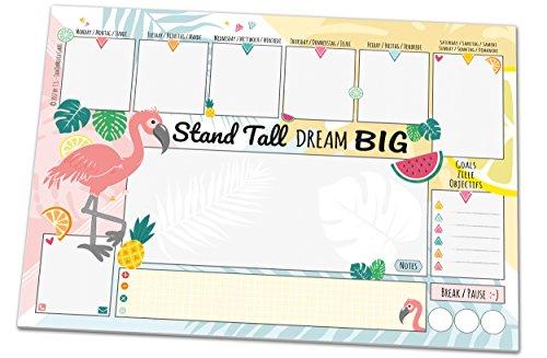 Schreibtischunterlage FLAMINGO, DIN A3 mit Flamingo-Motiv aus Papier, 25 Blatt, Schreibunterlage zum Abreißen (30 x 42 cm) für Kinder und Erwachsene mit Wochenplaner, Tagesplan, To-Do-Liste, Notizfeld - Cool Flamingos