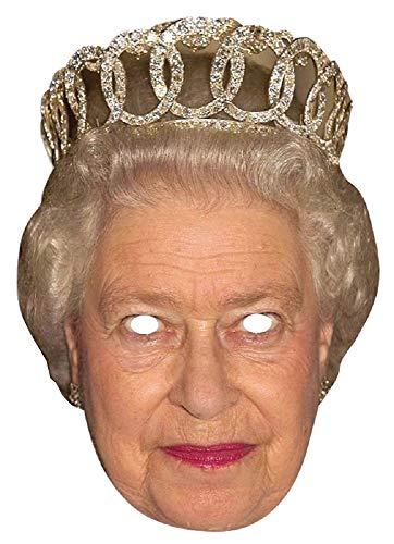 Party-Maske Royals aus hochwertigem Karton Großbritannien England GB Königin Prinz Herzogin Funny Masks Celebrity Pappe, Variante:Queen Elizabeth