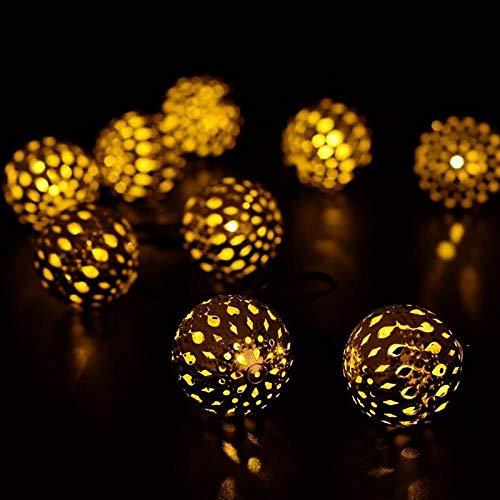 LED-Solarschnur-Lichter, warmes Weiß, 20 Globe Marokkanische Ball, 15ft LED Fairy Lichterketten, Weihnachts Strand Lighting für Outdoor, Party, Hauptdekoration (Solar-outdoor-anteil Lichter)
