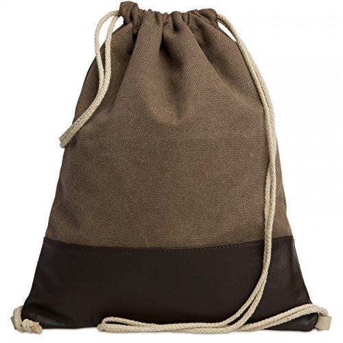 caspar-tl714-sac-a-dos-en-toile-et-cuir-unisexe-sac-de-gym-vintage-style-retro-couleurmarrontailleon
