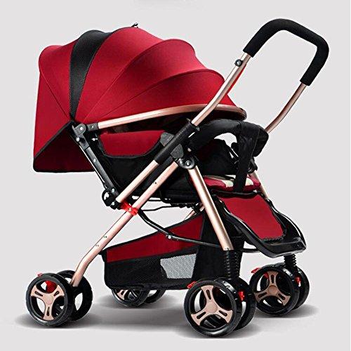 Baby zwei Wege Kinderwagen Aluminium Leichtbau Kinderwagen Portable Folding vier Rädern Kinderwagen für 0-36 Monate , Red