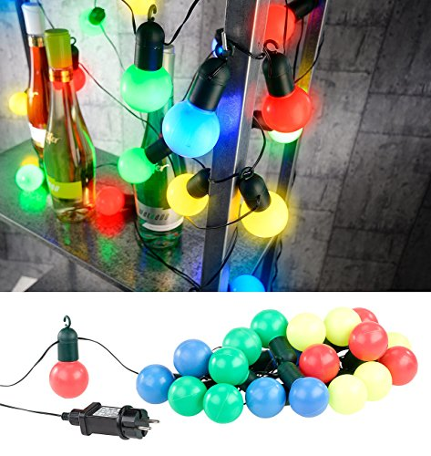 htung: 4-farbige LED-Lichterkette mit 20 Lämpchen, 1,2 Watt, 475 cm, IP44 (Party LED Lichterketten in Glühbirnenformn für Innen und Außen) (Led Party Supplies)