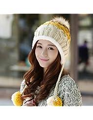 Corea Mujer invierno Gorra de invierno Gorra de lana linda Afluencia Taxi Mujer terciopelo del otoño y del tejido a tejido a mano del sombrero del invierno del casquillo del oído de terciopelo más caliente ( Color : Amarillo )