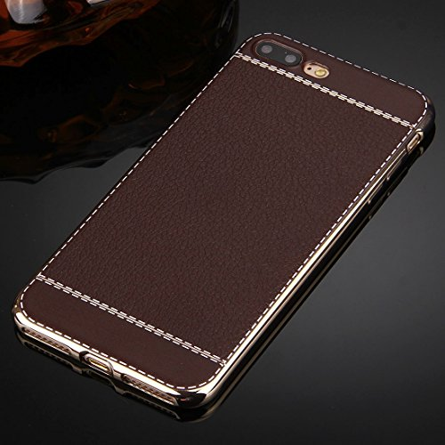 iPhone 8 Plus, 7 Plus Koffer, KrygerShield® - weiche Luxusleder flexible Kristallgelabdeckung mit galvanisiertem Stoßfänger in rosa Coffee Brown