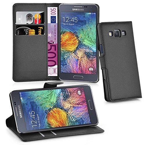 Preisvergleich Produktbild Cadorabo - Book Style Hülle für Samsung Galaxy A7 (5) (Modell 2015) - Case Cover Schutzhülle Etui Tasche mit Standfunktion und Kartenfach in PHANTOM-SCHWARZ