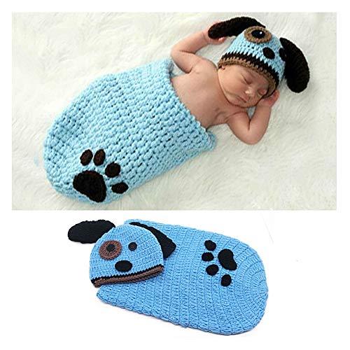 NROCF Neonato Simpatico Cane Crochet Knit Costume Fotografia Prop Abiti, Sacco A Pelo per Bambina, Blu