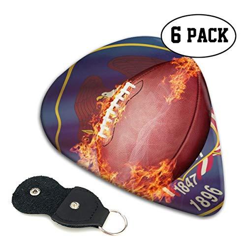 Cavdwa American Football Ball mit Flagge auf Hintergrund, Serie personalisiert, 6-teilig, 0,96 mm, 0,71 mm, 0,46 mm, Mode für E-Gitarre, Akustikgitarre, Mandoline und Bass, ABS-Kunststoff, weiß.96mm