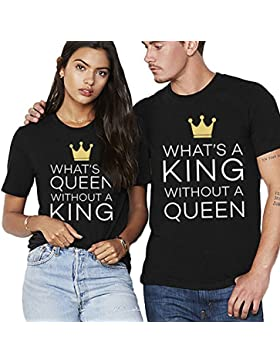 JWBBU Camiseta Para Parejas King Queen 2 Piezas T Shirt Impresión Rey Reina con Manga Corta Tops Casual Para Hombre...