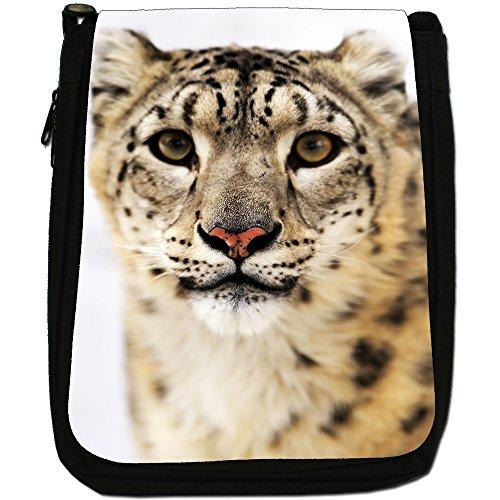 Snow Leopard Wild Cat Medium Nero Tela Borsa a tracolla, taglia M Snow Leopard Face