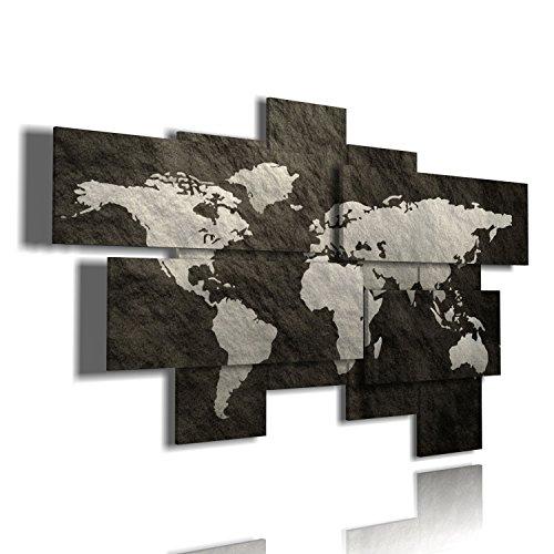 duudaart Quadro Mappa del Mondo Astratto 93 multilivello 3D Quadri Mondo Cartina geografica Soggiorno XXL