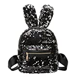 YouN Mini Sequins Backpack Cute Rabbit Ears Shoulder Bag Women Girl Bag(Black)