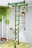 Klettergerüst FitTop M1 für Kinderzimmer Sprossenwand Kletterwand Turnwand mit Klimmzugstange inkl. Strickleiter, Turnringe, Tau, Trapez, verschiedene Farben und Größen, TÜV geprüft Grün Raumhöhe 220 - 270 cm