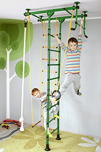 NiroSport FitTop M1 Indoor Klettergerüst für Kinder Sprossenwand für Kinderzimmer Turnwand Kletterwand, TÜV geprüft, kinderleichte Montage, max. Belastung bis ca. 130 kg (Grün) -