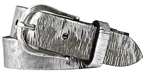 Vanzetti Damen Leder Gürtel Vollrindleder Metallicfinish Damengürtel silber 30 mm Ledergürtel (90 cm)