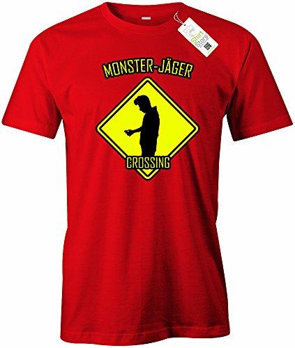 monster-jager-crossing-gamer-herren-t-shirt-in-rot-by-jayess-gr-xl