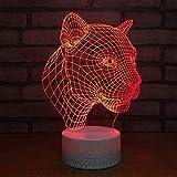 3D Lampes Illusions Optiques Led Bouton tactile couleur ou 7 couleurs changer progressivement Décoration de chambre cadeau d'anniversaire décoration de salon Léopard avatar...