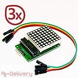 AZDelivery ⭐⭐⭐⭐⭐ 3 x MAX7219 8x8 1 Dot Matrix MCU LED Anzeigemodul für Arduino mit gratis eBook!