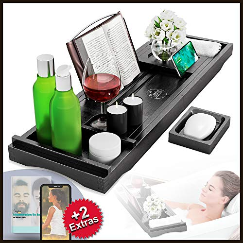 Premium Badewannenablage aus Bambus-Holz - APP MEDITATIONSKURS INKLUSIVE - Seifenschale, Getränkehalter, Buchständer, Handtuch-Box, Smartphone- und Tablet-Halterung - variabel ausziehbar