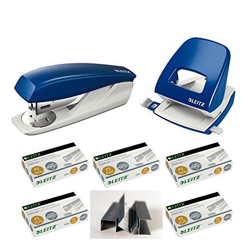 Leitz 55010035 NeXXt Series Kleines Büroheftgerät, 25 Blatt Starter-Set (Heftgerät + Locher + 5.000 Klammern) (Locher Set)