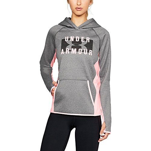 Under Armour Damen Armour Fleece-Block Massiv Hoodie, Damen, Carbon Heather/Cape Coral/Cape Coral, Medium -