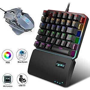 AUZZO HOME Einhand Tastatur Gaming Mechanische Tastatur RGB LED Hintergrundbeleuchtung Tragbare Tastatur mit 35 Tasten Blaue Schalter Tastatur mit Handballenauflage für Xbox One PC Mac Laptop Gamer